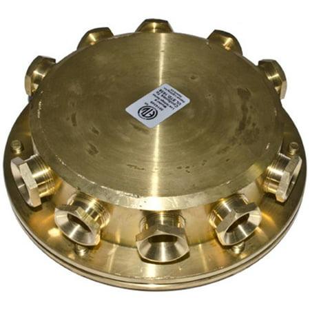 (Dabmar Lighting UWB-10 10Ways Underwater Junction Box, Brass - 1.58 x 5.50 x 5.50 in.)