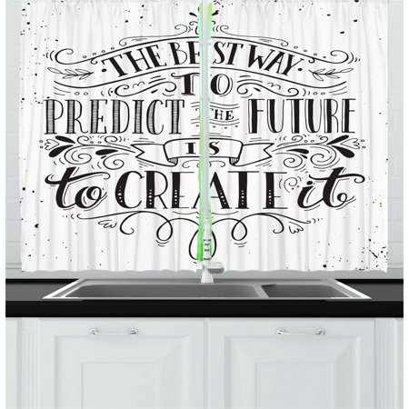 Inspirational Curtains 2 Panels Set, Calligraphy Font of the Best Way to Predict Future is to Create It Quote, Window Drapes for Living Room Bedroom, 55W X 39L Inches, Black and White, by (Best Way To Clean Windows With A Squeegee)