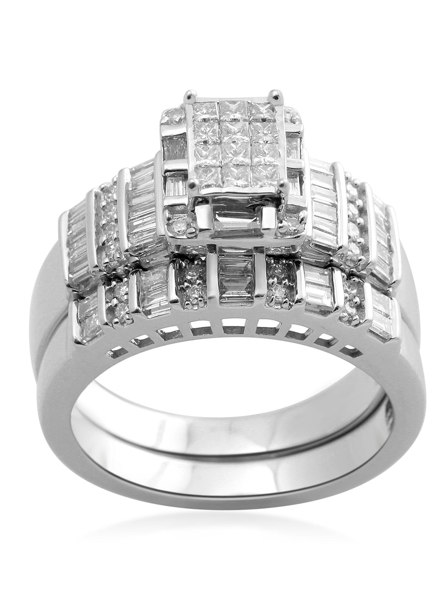 1 Carat T.W. Princess Diamond Sterling Silver Bridal Set by Generic
