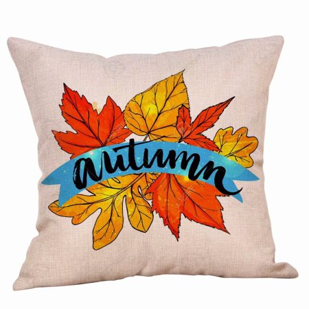 Maple Leaf Throw Pillow Covers Autumn Theme Fall Decorative Pillow Covers Cushion Cases Decor Autumn Leaf Pillow Cases Cotton Linen for Home Sofa (Grosvenor Maple Leaf)