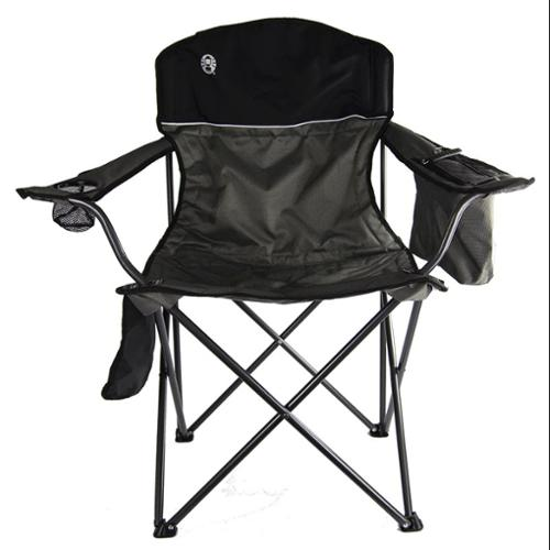 COLEMAN Camping Outdoor Oversized Steel Frame Quad Chair w/ Cooler   Black/Grey