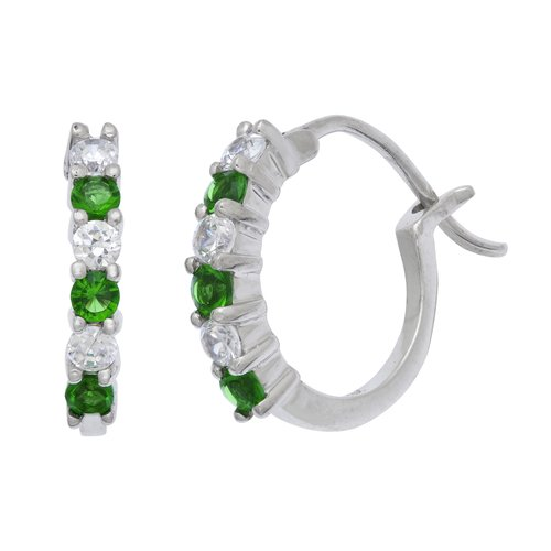 .30 Carat T.G.W. Simulated Emerald and CZ Sterling Silver Hoop Earrings