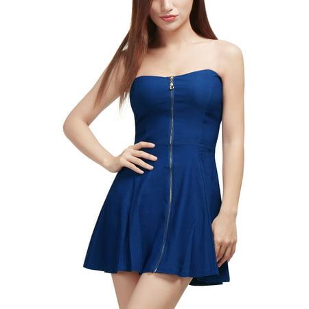 Unique Bargains Women's Sweetheart Neckline Exposed Zipper Front A-Line Dress Blue 18 - image 7 of 7