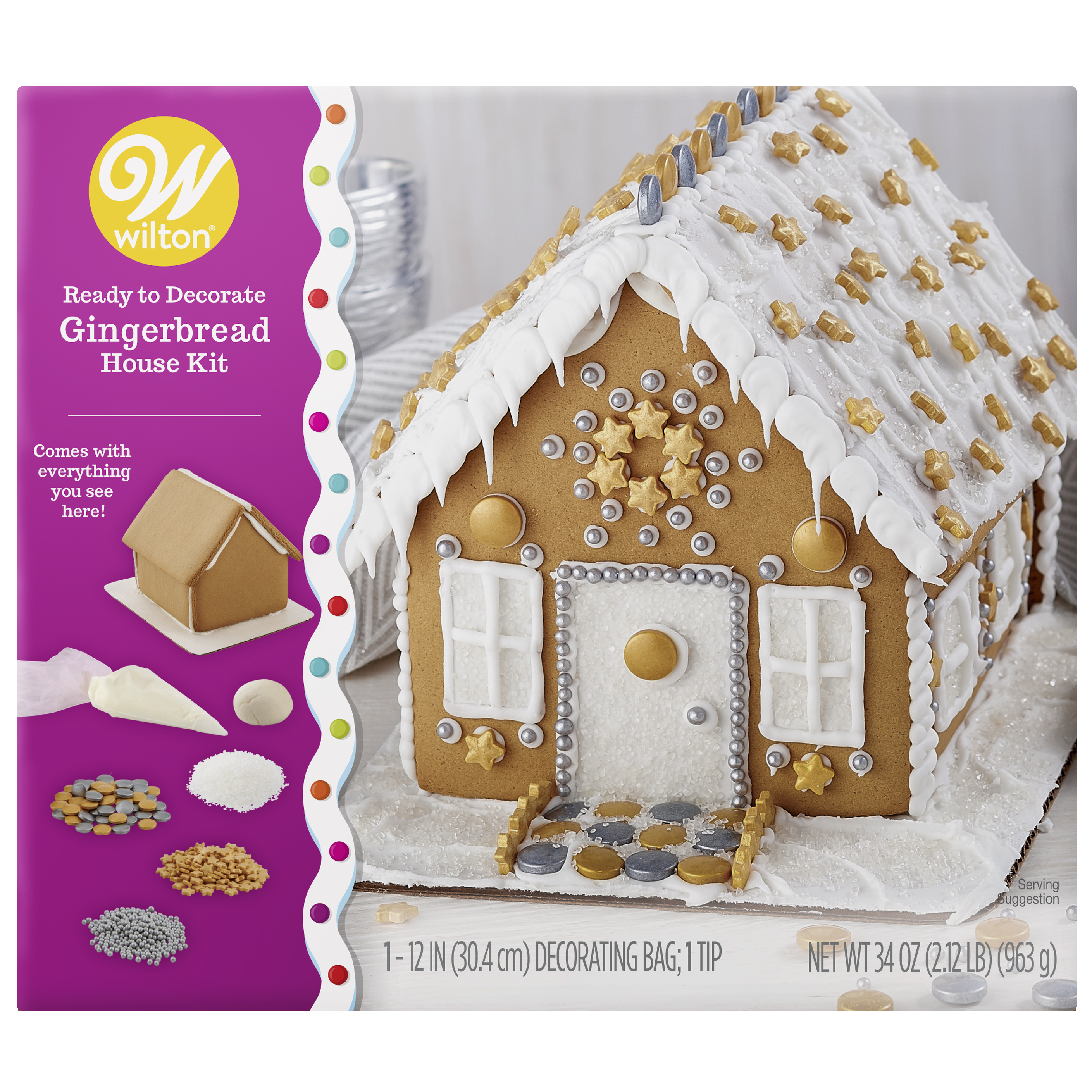 Wilton Ready-to-Decorate Dazzling Gingerbread House Decorating Kit, Bling House
