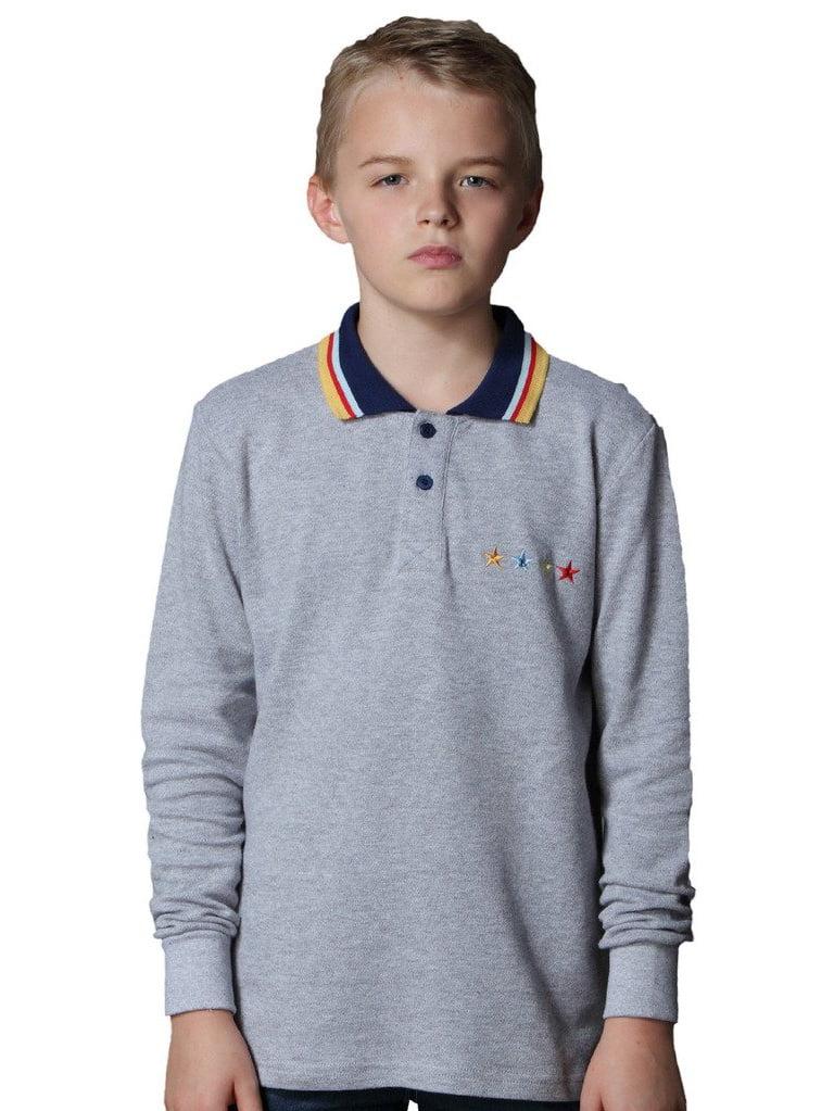 Leo&Lily Big Boys' Long Sleeve Cotton Casual Lapel Polo Shirt
