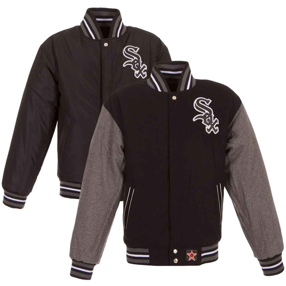 Chicago White Sox JH Design Youth Reversible Full-Zip Wool Jacket - Black/Gray