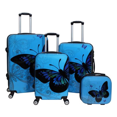 World Traveler Butterfly 4-Piece Hardside Upright Spinner Luggage Set