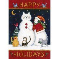 LPG Greetings Happy Holidays Snowcat Box of 18 Cat Christmas Cards