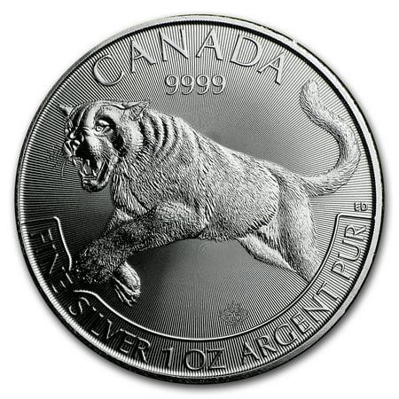 2016 Canada 1 oz Silver Wildlife Cougar (Abrasions, (Spot Canada)