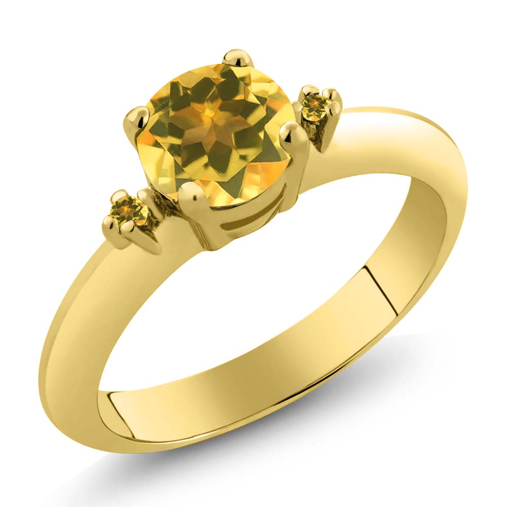 0.72 Ct Round Yellow Citrine Yellow Gold Plated Sterling Silver Ring