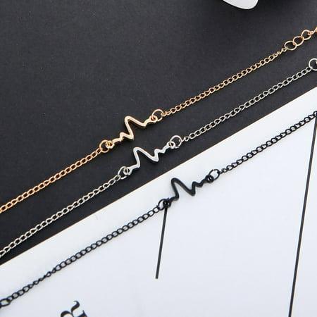 Simple Personality Design Ecg Lightning Bracelet Couple Bracelets Fashion - image 7 of 7