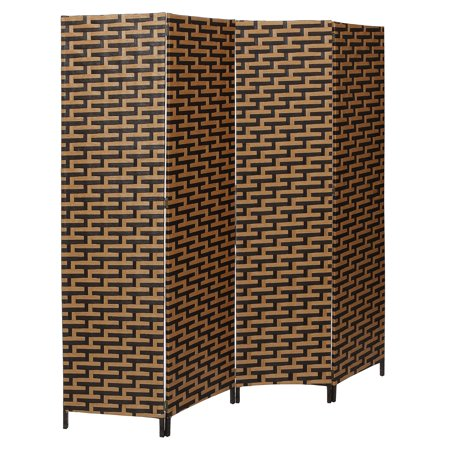 Freestanding 4-Panel Black & Brown Woven Design Wood Privacy Room Divider Folding Screen