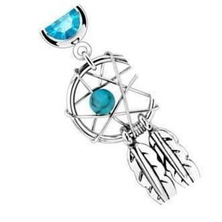 Belly Button Ring Dream Catcher Woven Star Design Bead Feathers Fancy Navel