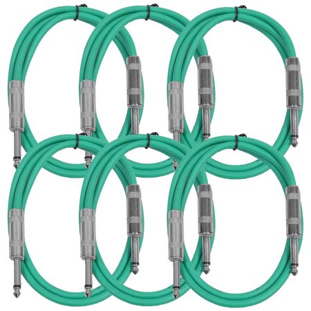 Seismic Audio  New 6 PACK Green 1/4