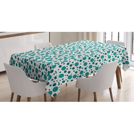 Black White Polka Dot Tablecloth (Teal Tablecloth, Abstract Traditional Polka Dots on Modern Artwork European Inspired Pattern Print, Rectangular Table Cover for Dining Room Kitchen, 60 X 84 Inches, Teal White, by)