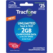 Tracfone $25 Smartphone Unlimited Talk & Text 30-Day Prepaid Plan (2GB at high speeds) e-PIN Top Up (Email Delivery)