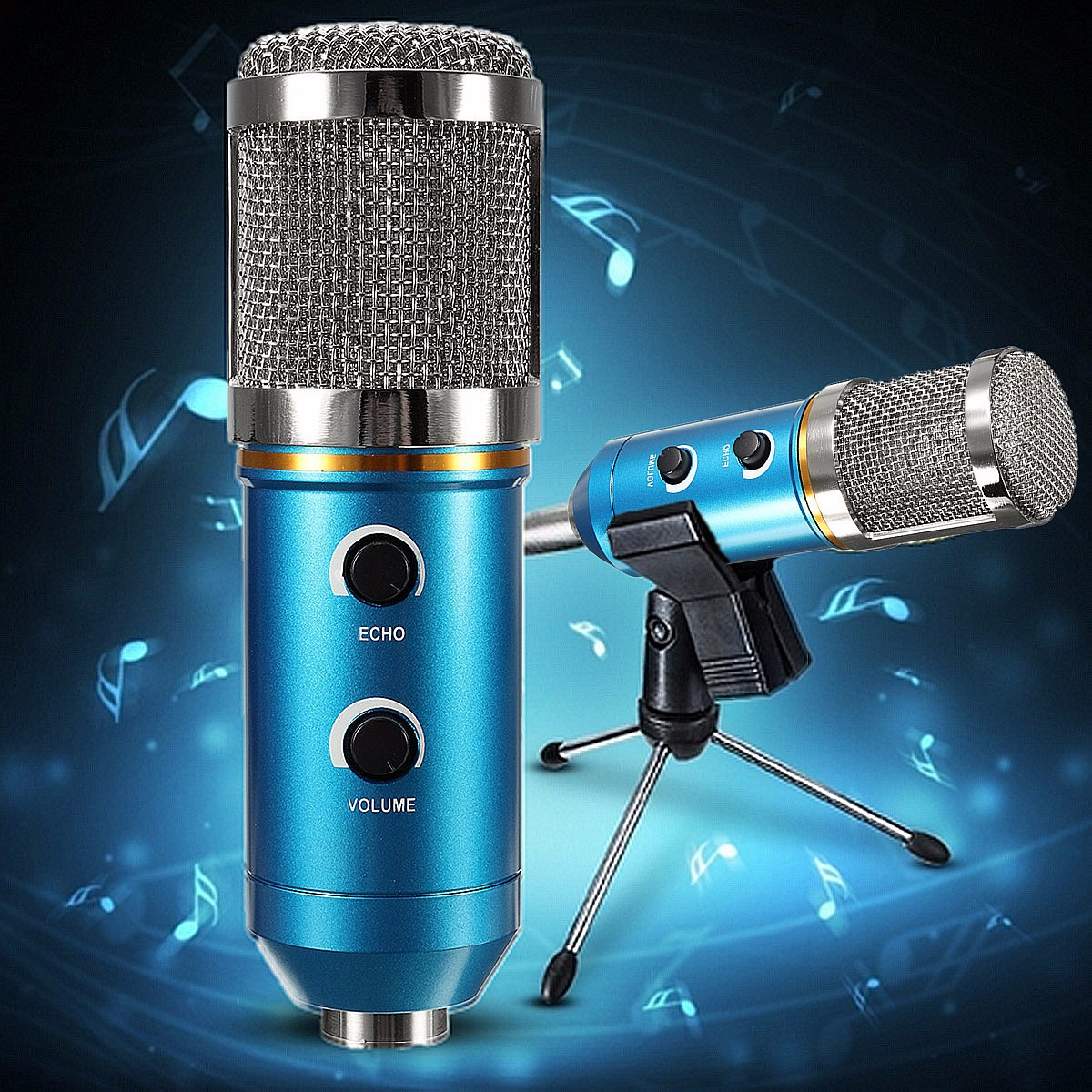 Audio USB Condenser Microphone Sound Recording Vocal Microphone Mic + Stand Mount ,Blue... by