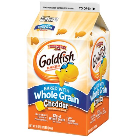 - Pepperidge Farm Goldfish Baked with Whole Grain Cheddar Crackers, 30 oz. Carton