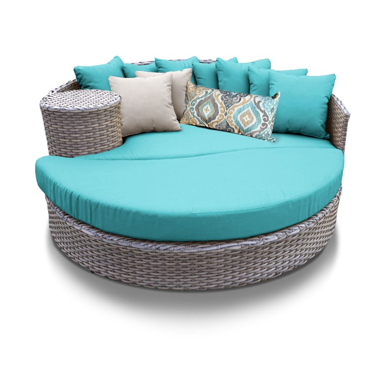 Bowery Hill Round Patio Wicker Daybed in Turquoise