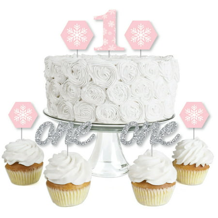 Pink ONEderland- Dessert Cupcake Toppers - Holiday Snowflake Winter Wonderland Birthday Party Clear Treat Picks - 24 Ct