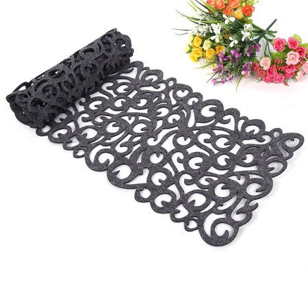 TMISHION Felt Tablecloth Runner Placemats Table Mats Holiday Hollow Out Table Runner Set Warming Gift Household Dining Decorations (Dark Gray) ()