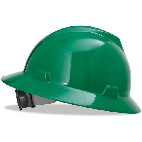 MSA V-Gard Full-Brim Hard Hats, Ratchet Suspension, Size 6 1 2 8, Green by MSA