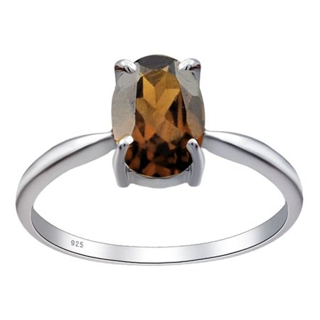 Orchid Setting (Orchid Jewelry 925 Sterling Silver 1.1 Ctw Smoky Quartz 4-Prong Setting Engagement Ring Size)
