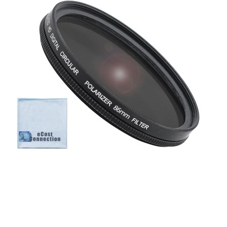 86mm Pro Series High Resolution Circular Polarized Filter for Sigma 180mm f/2.8 APO Sigma 150-500mm, 170-500mm, Tamron 200-500mm Lenses & an eCostConnection Microfiber (Sigma 17 50 Vs Tamron 17 50)