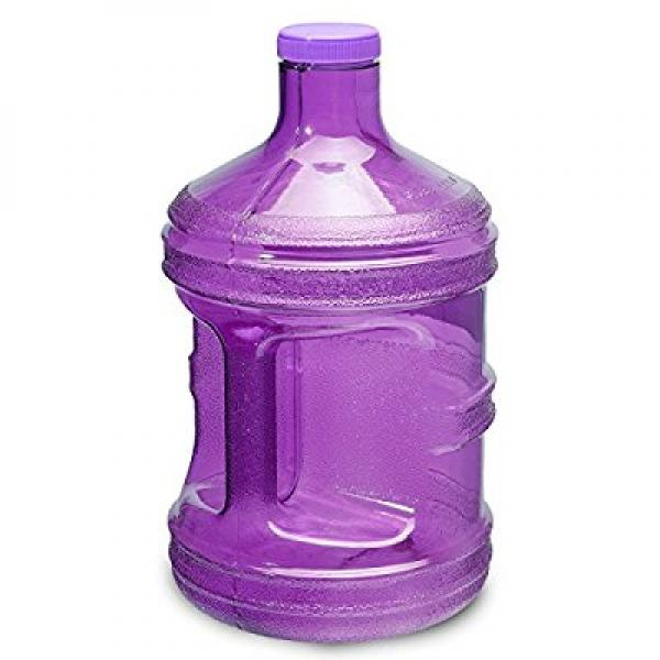 1 gallon bpa free reusable plastic drinking water bottle jug container (purple)