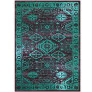 Mainstays Global Arya Nylon Textured Print Area Rug or Runner, Wineberry/Spa, 5' x 7'