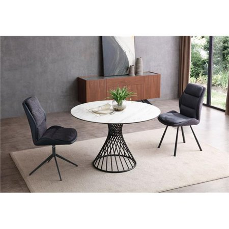 - Whiteline DT1632-WHT Oscar Round Dining Table - 8 mm Glass Layer & 3 mm White Ceramic Top, Matte Black Powder Coated Iron Base