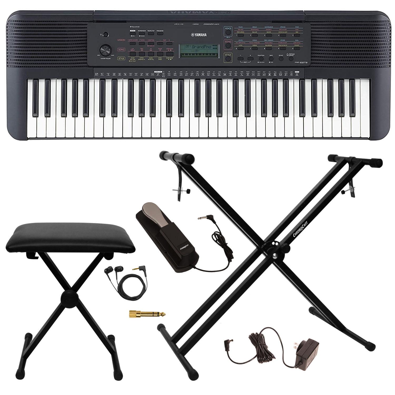 Yamaha Psr E273 61 Key Portable Grand Piano Keyboard Kit Includes Keyboard Bench Headphones Stereo Plug Adapter Keyboard Stand Power Adapter Sustain Pedal Walmart Com Walmart Com