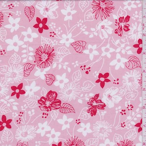 Pink Floral Sketch Print Cotton Lawn, Fabric By the Yard