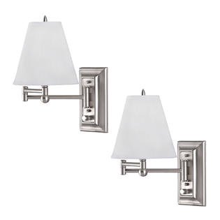 2 Pack Brushed Nickel Wall Mount Swing Arm Reading Bedside Lamp Bedroom  Light