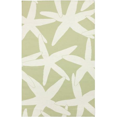 2' x 3' Nautical Starfish Sage Green and White Hand Woven Wool Area Throw Rug ()