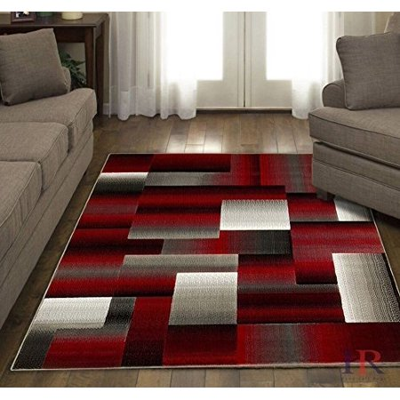 Red/Grey/Silver/Black/Abstract Area Rug Modern Contemporary Geometric Cube and square Design Pattern Carpet