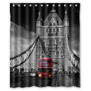 HelloDecor Red Double Decker Bus London Bus Shower Curtain Polyester Fabric Bathroom Decorative Curtain Size 60x72 Inches