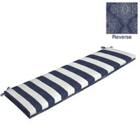 "Better Homes & Gardens Blue Pointelized Ogee Stripe 46""W x 17""D Outdoor Bench Cushion"