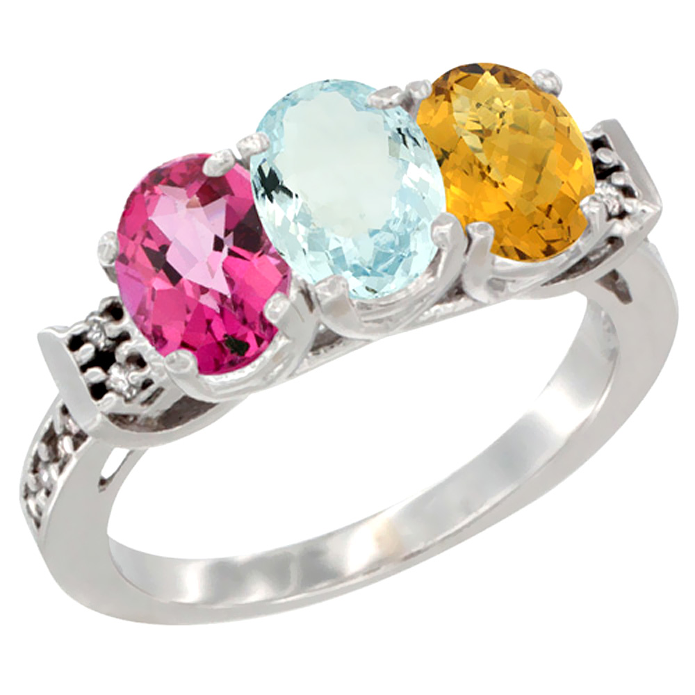 14K White Gold Natural Pink Topaz, Aquamarine & Whisky Quartz Ring 3-Stone 7x5 mm Oval Diamond Accent, sizes 5 10 by WorldJewels