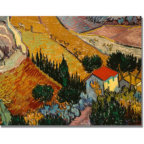 "Trademark Fine Art ""Landscape with House"" Canvas Art by Vincent van Gogh"