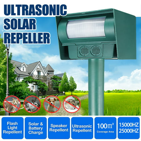 Solar Battery Powered Ultrasonic Oudoor Pest and Animal Repeller, Pest and Animal Control Rodent, Raccoon, Deer, Birds, Cats, Dogs, Mice
