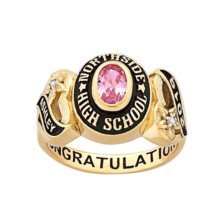 Personalized Women's Yellow Celebrium Sweetheart Class Ring with CZ Accents](Inexpensive Class Rings)