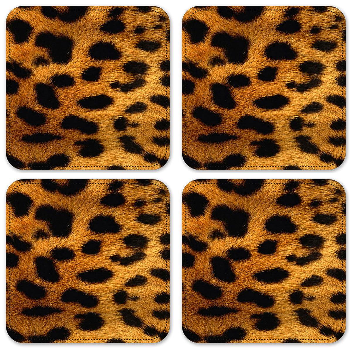 Drink Coasters Entertaining Cloth Fabric Coasters Housewarming Gift Mug Rug Kitchen Table Linen Leopard Jungle Print