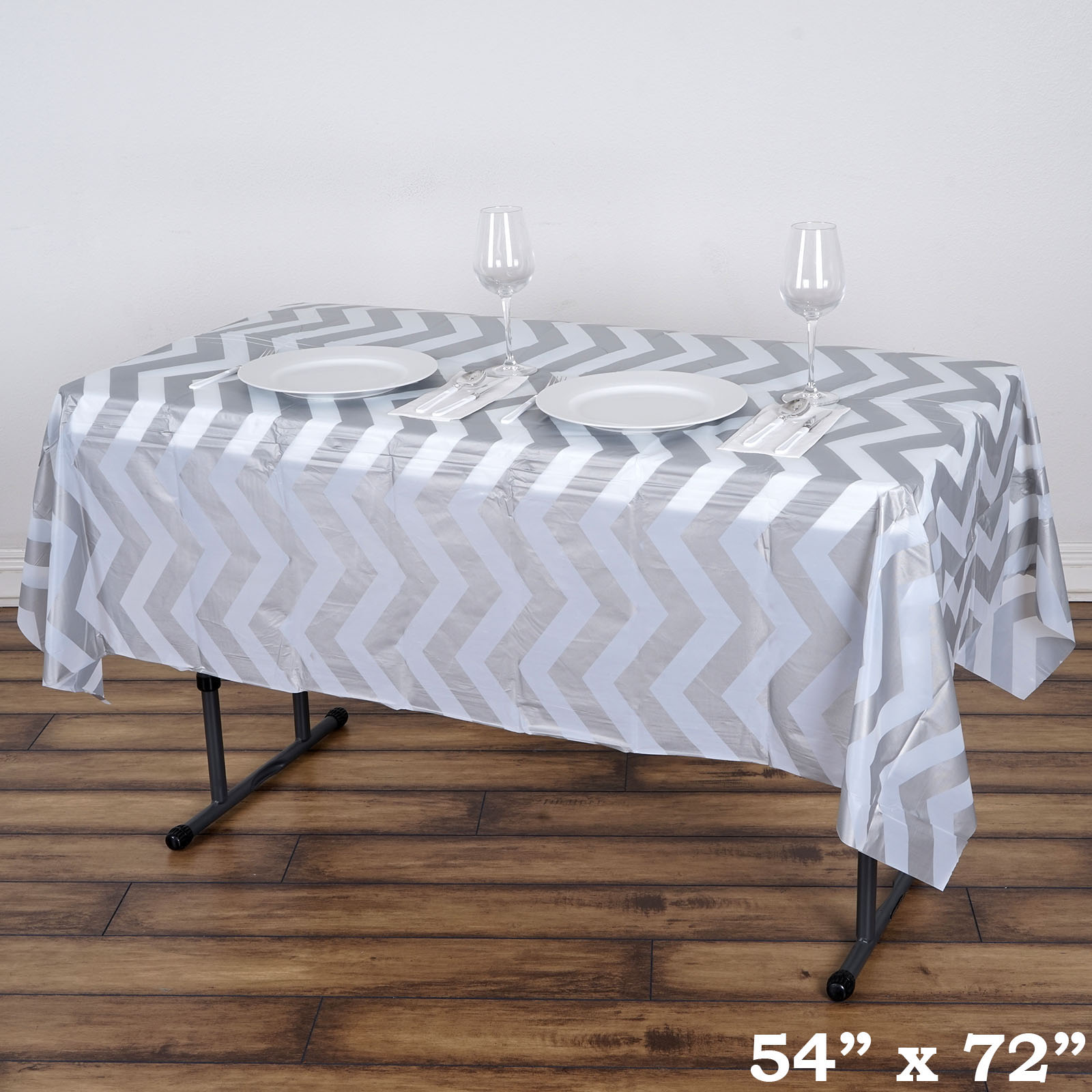 "BalsaCircle 54"" x 72"" Rectangular Chevron Disposable Plastic Tablecloths - Party Picnic Table Covers Decorations"