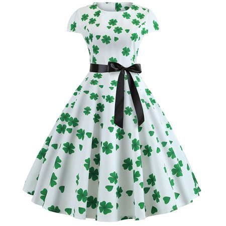 St. Patrick's Day Women's Party Prom Swing Bow Dress