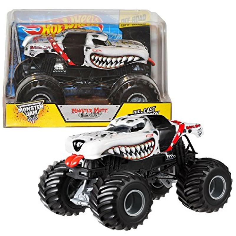 Hot Wheels Year 2014 Monster Jam 1:24 Scale Die Cast Official Monster Truck Series #BGH28 - Feld Motor Sports MONSTER MUTT DALMATIAN with Monster Tires, Working Suspension and 4 Wheel Steering (Dimens
