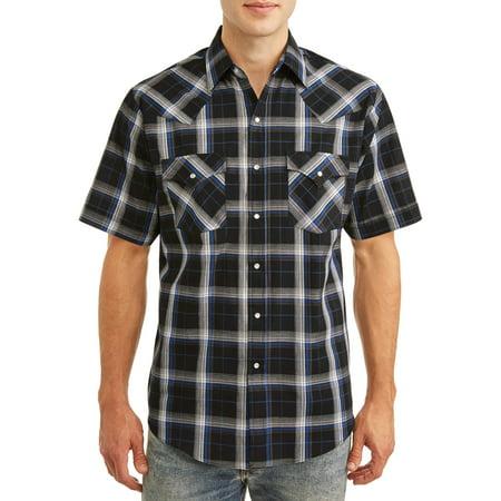 Plains Men's and Big Men's Short Sleeve Plaid Western Shirt Embroidered Black Western Shirt