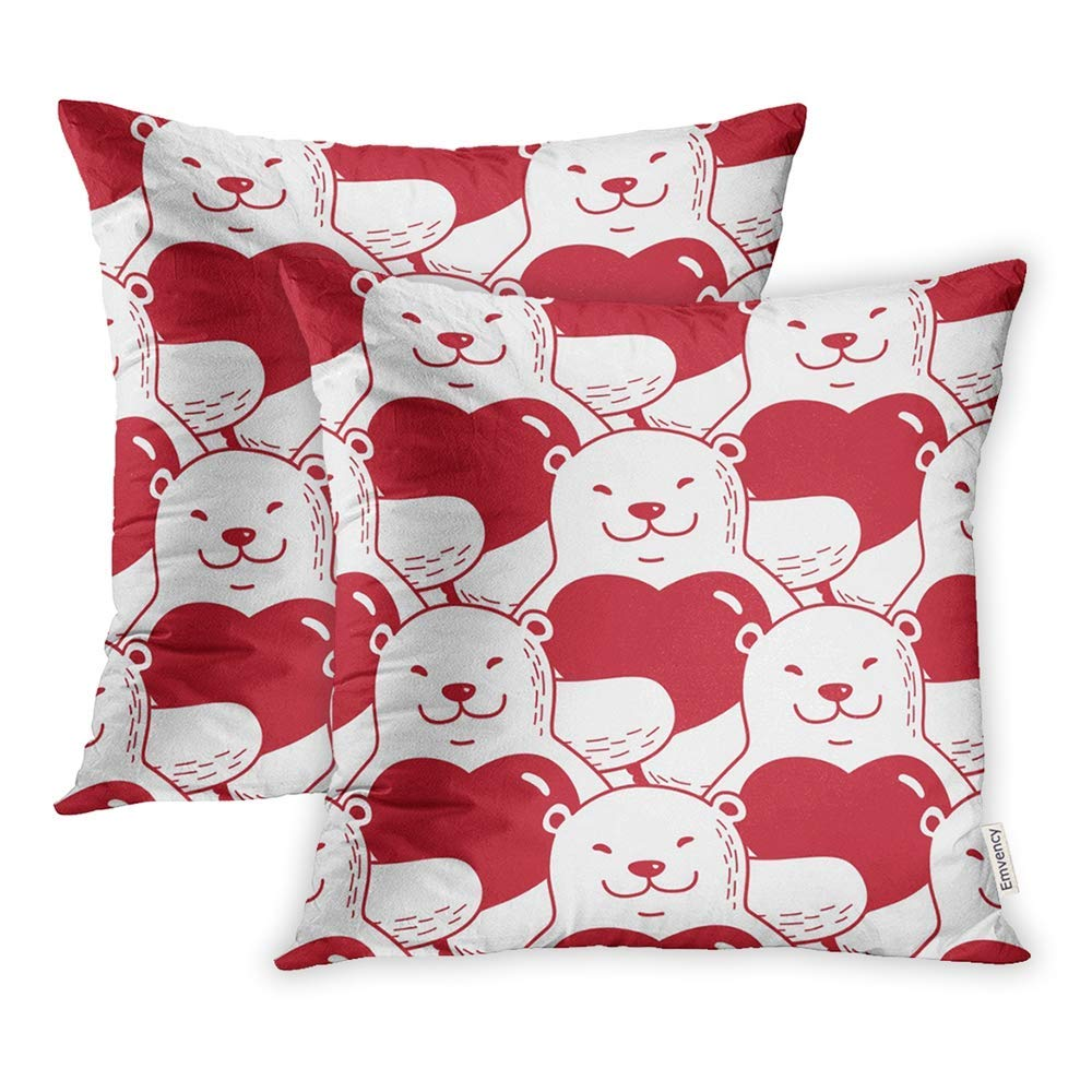 CMFUN Animal Bear Heart Valentine Red Arctic Baby Cartoon Child Christmas Cute Drawing Pillow Case Pillow Cover 18x18 inch Set of 2