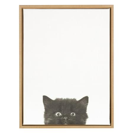 DesignOvation Sylvie Black Kitten Portrait Canvas Wall Art by Simon Te Tai](Natural Canvas)