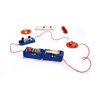 Eisco Labs Basic Beginner Circuit Kit For Teaching Series and Parallel Circuits- Switch, (2) 'C' Batteries w/ Holders, (2) Light Holders, (5) Bulbs, Bulk Wire
